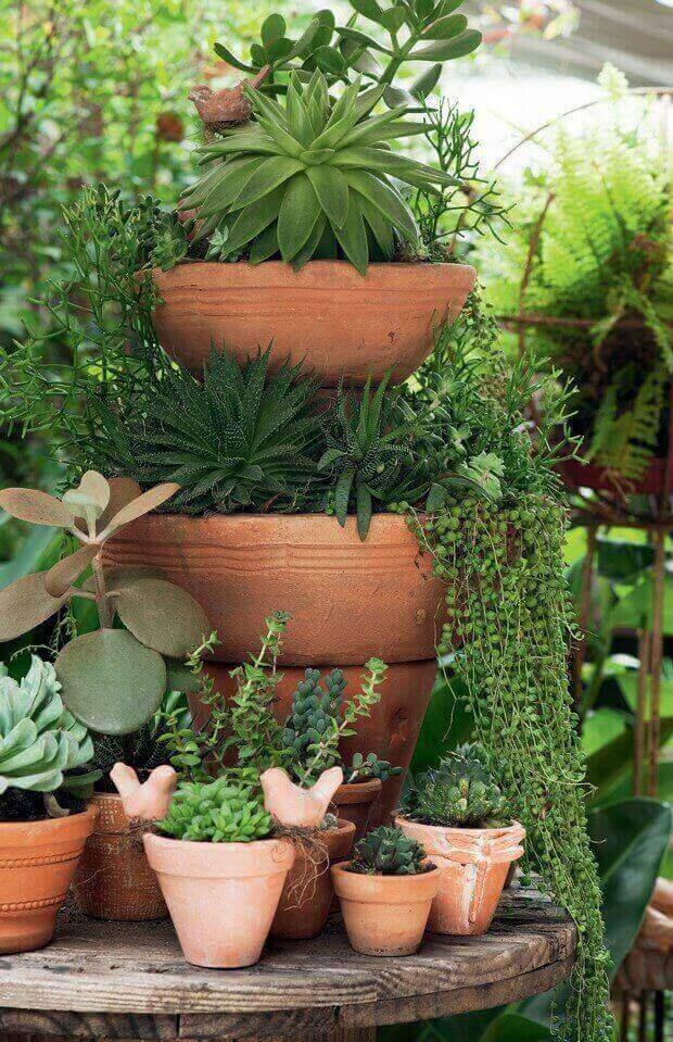 O mini jardim de suculentas foi montado com vasos sobrepostos