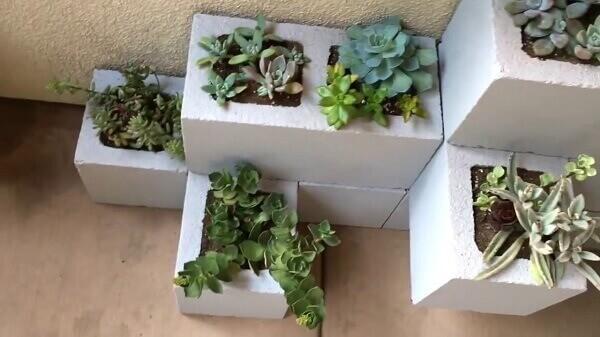 O mini jardim de suculentas utiliza blocos como jardineira