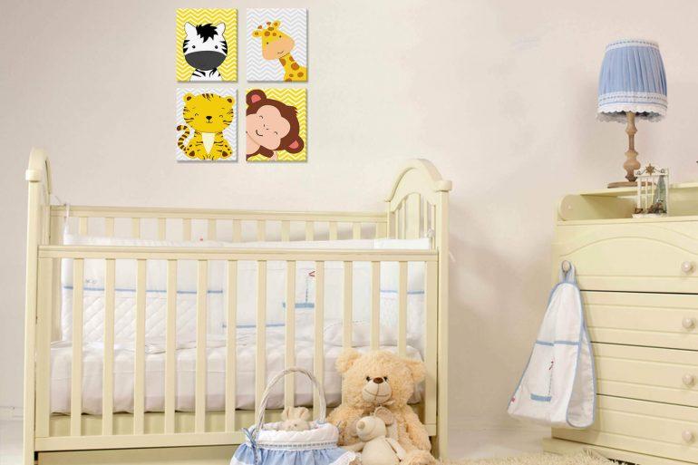 O quadro para quarto de bebê realça a decoração em tons pasteis