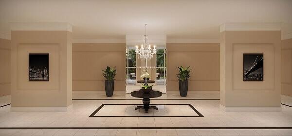 O rodapé frisado complementa a decoração
