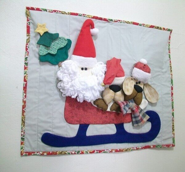 Painel de natal em tecido papai noel