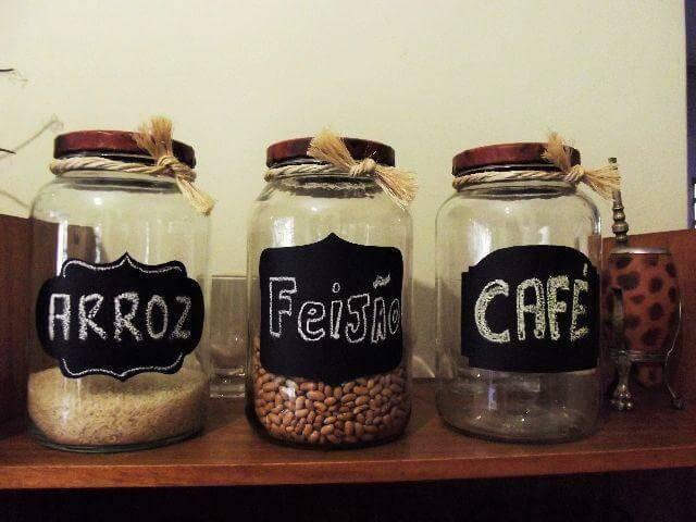 Potes de vidro para mantimentos com nomes Foto de Clasf