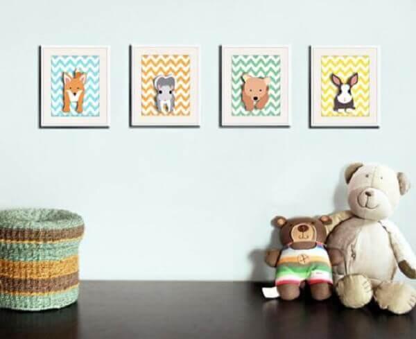 Quadro para quarto de bebê com bichinhos