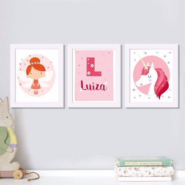 Quadro para quarto de bebê com tema de fadinha e unicórnio