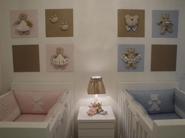 Quadro para quarto de bebê de gêmeos