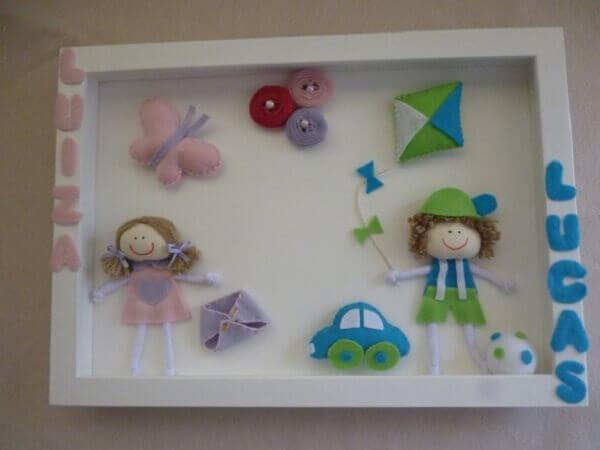 Quadro para quarto de bebê em feltro