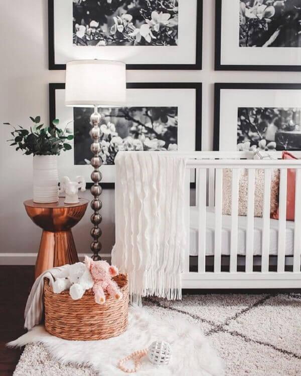 Quadro para quarto de bebê em preto em branco