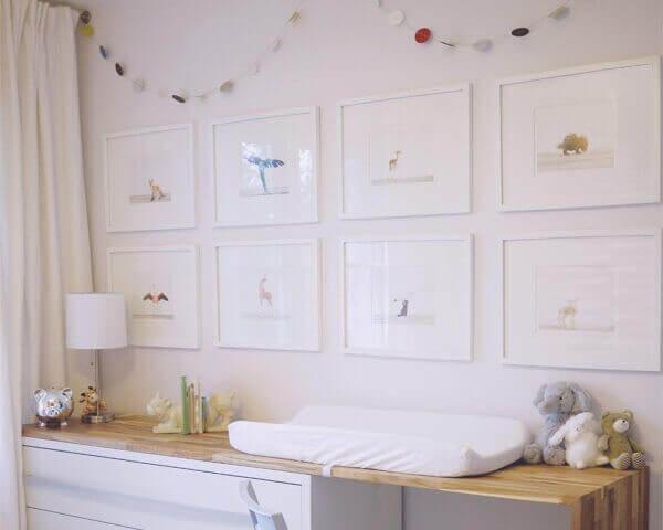 Quadro para quarto de bebê motivo safari