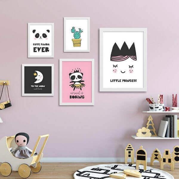 Quadro para quarto de bebê rosa