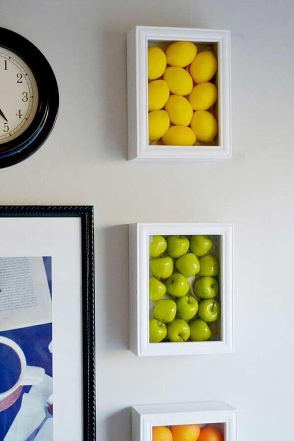 Quadros para cozinha com moldura de frutas