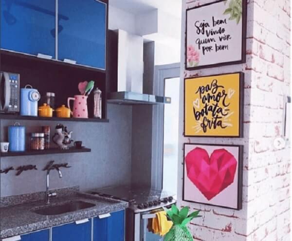 Quadros para cozinha em canto de parede