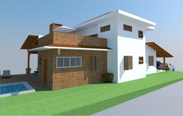 Revestimento de parede externa com tijolinhos aparentes