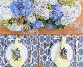Tons de azul invadem a decoração desta mesa posta