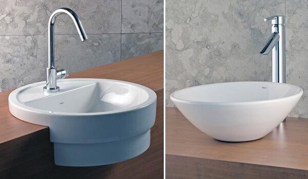 Torneira para pia de banheiro Modelos de semi-encaixe e apoio da Deca