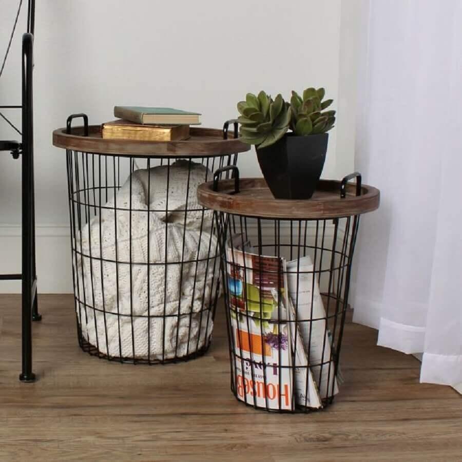 cesto aramado com tampo de madeira Foto Bed Bath & Beyond