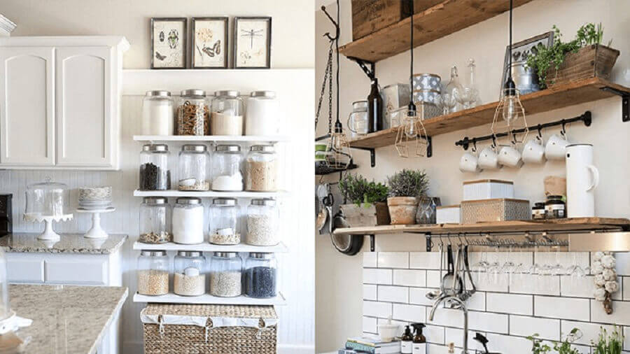 cozinha decorada com prateleiras e potes de vidro