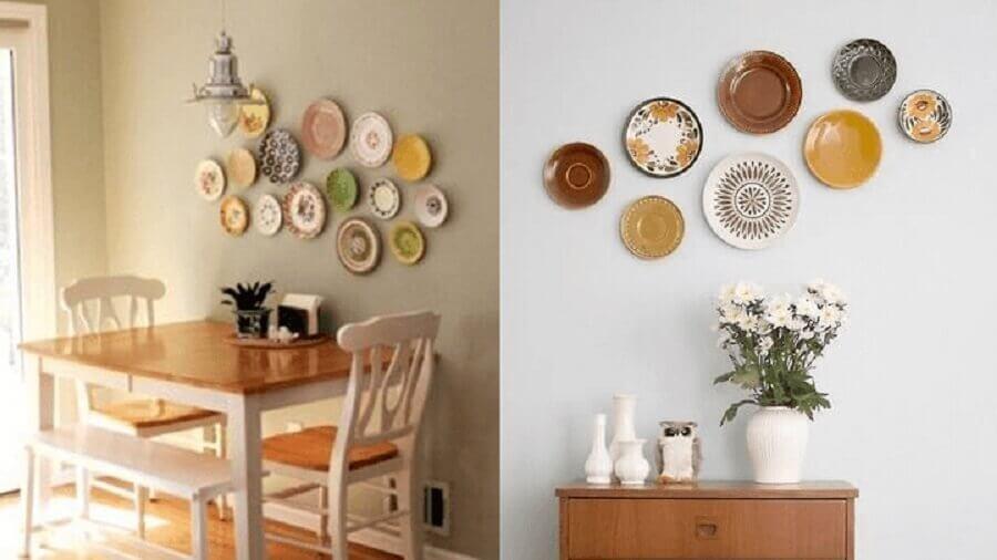 cozinha decorada com pratos na parede