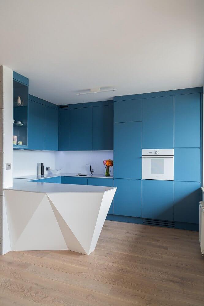 cozinha planejada azul moderna Foto Pinterest