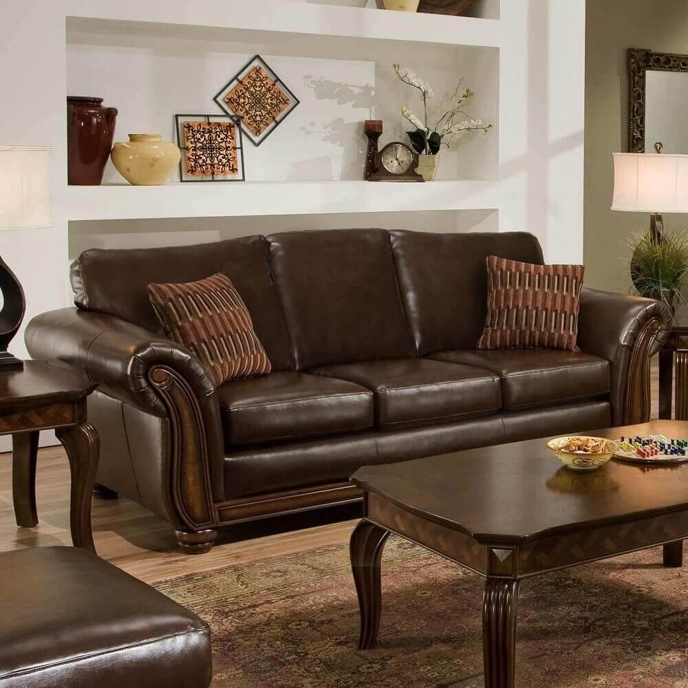 decoração clássica com sofá de couro para sala pequena Foto Lighting Ideas