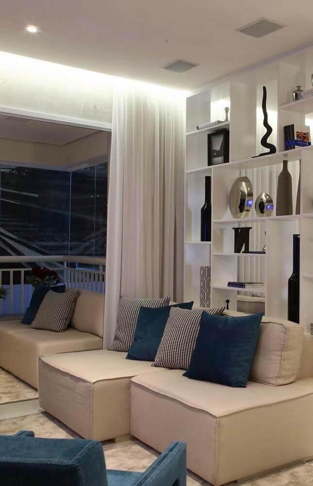 decoração clean com sofá sem braço para sala pequena Foto Pinterest