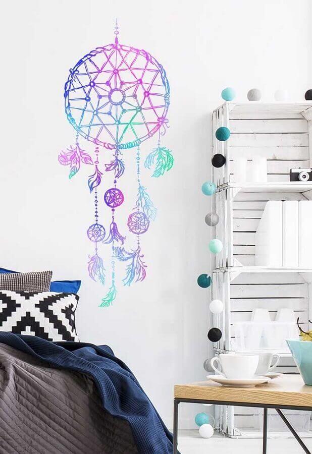 decoração com adesivo de filtro dos sonhos colorido Foto Pinterest