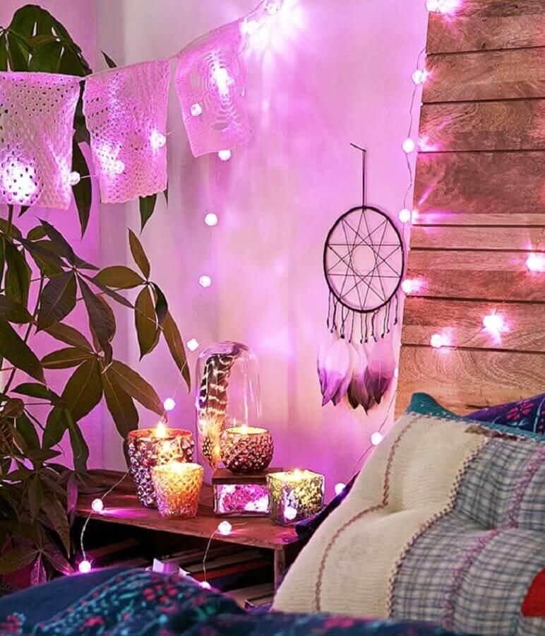 decoração com fio de luz e filtro dos sonhos pequeno Foto Uma Hippie Artesanato