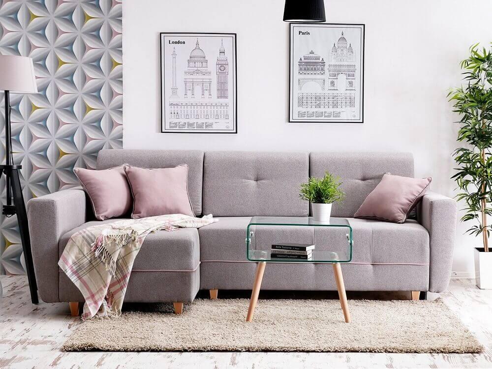 decoração com mesa de centro de vidro e sofá moderno para sala pequena Foto Allegro