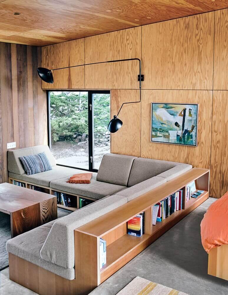 decoração com modelo planejado de sofá de canto para sala pequena Foto Bjørn Studio