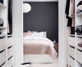 decoração com parede preta para  quarto de casal com closet Foto Pinterest