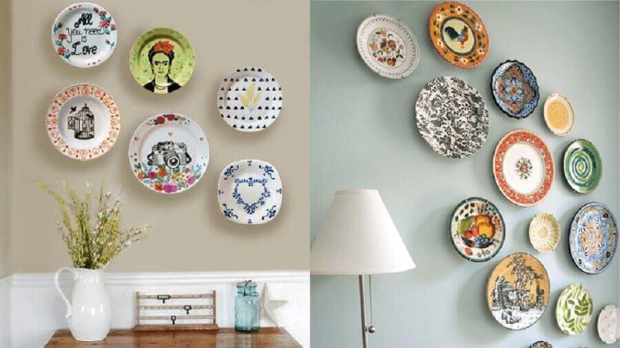 decoração com pratos estampados
