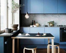 decoração contemporanea para cozinha planejada azul Foto Virve