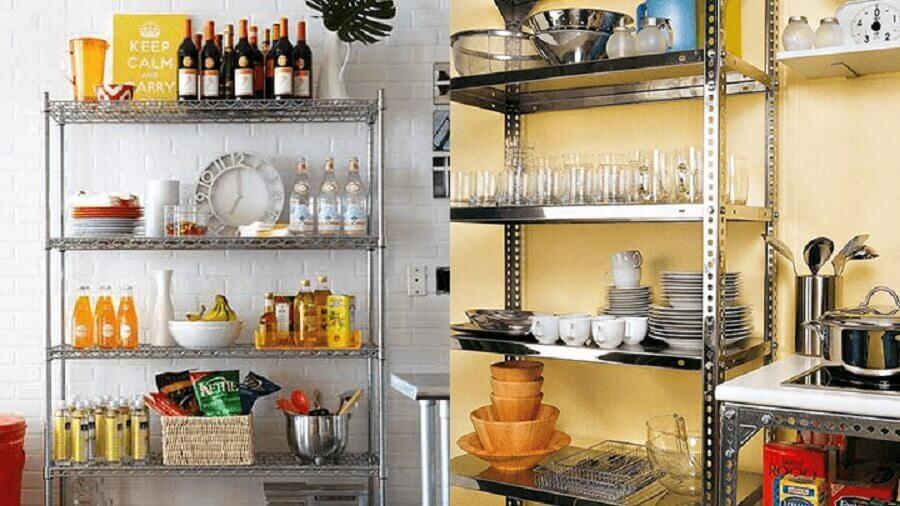 decoração de cozinha com armários de metal