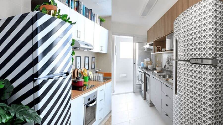 decoração de cozinha com geladeira adesivada preto e branco