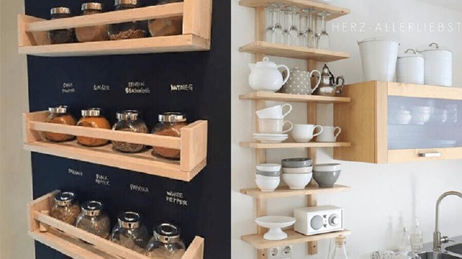decoração de cozinha com prateleiras de madeira