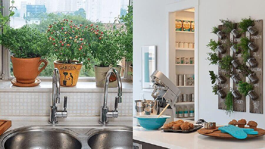 decoração de cozinha pequena com horta vertical