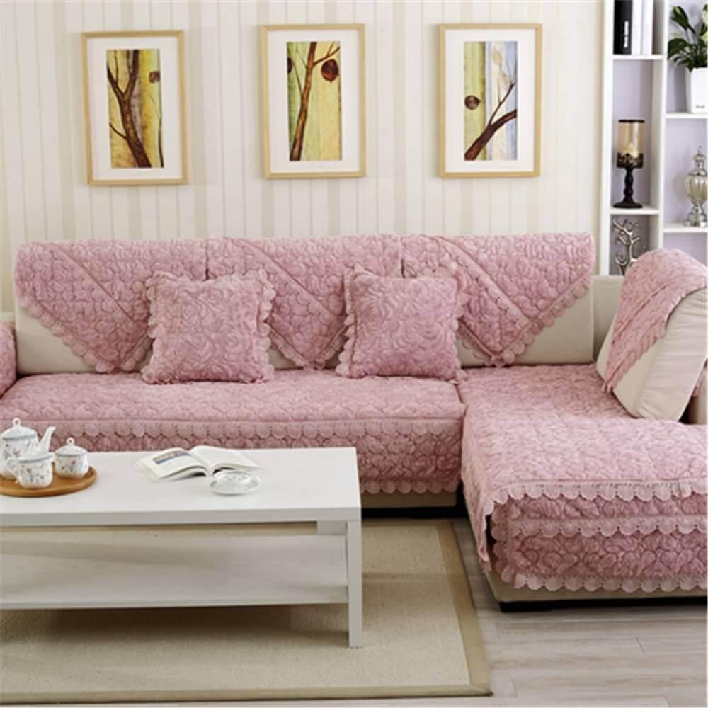 decoração em tons de rosa com sofá em l para sala pequena Foto Aliexpress