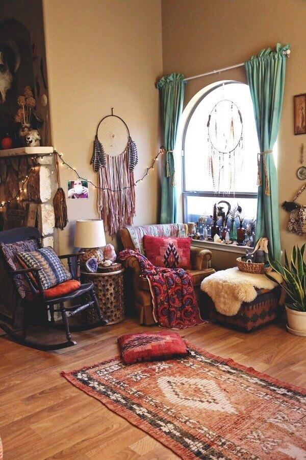decoração hippie para sala com filtro dos sonhos Foto Pinterest