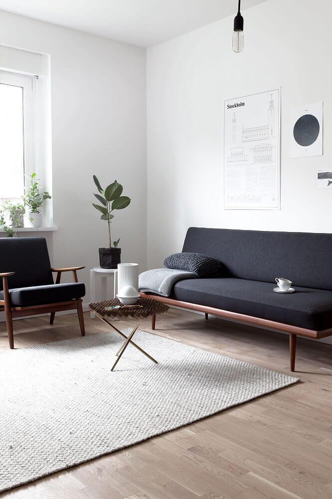 decoração minimalista com sofás modernos para sala pequena Foto Fontana