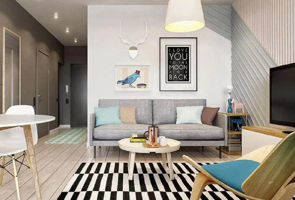 decoração moderna com sofá para sala de tv pequena Foto InMyRoom