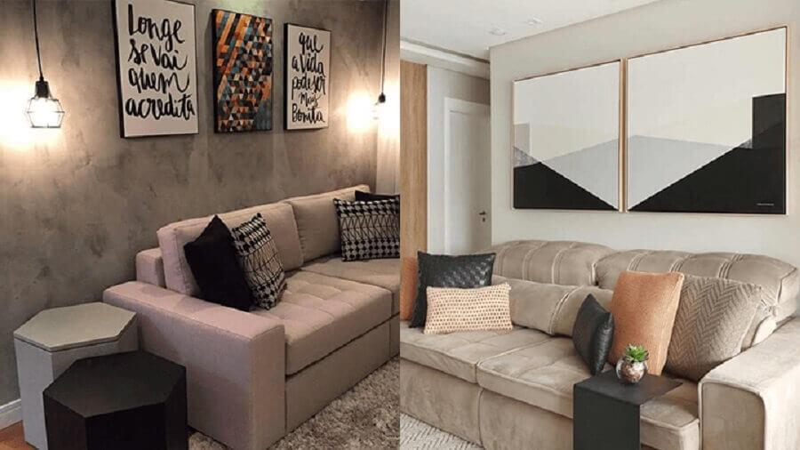 decoração moderna para sala com quadros na parede
