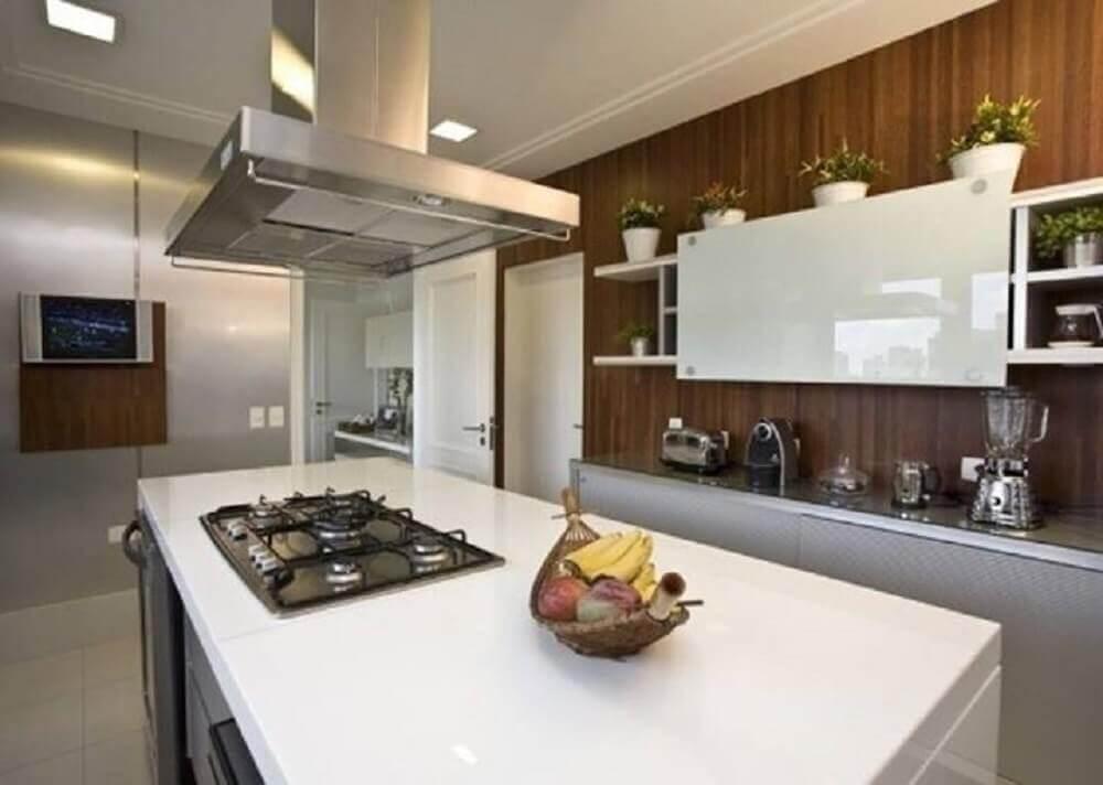 decoração para cozinha com ilha e nanoglass branco Foto Larissa Rodrigues