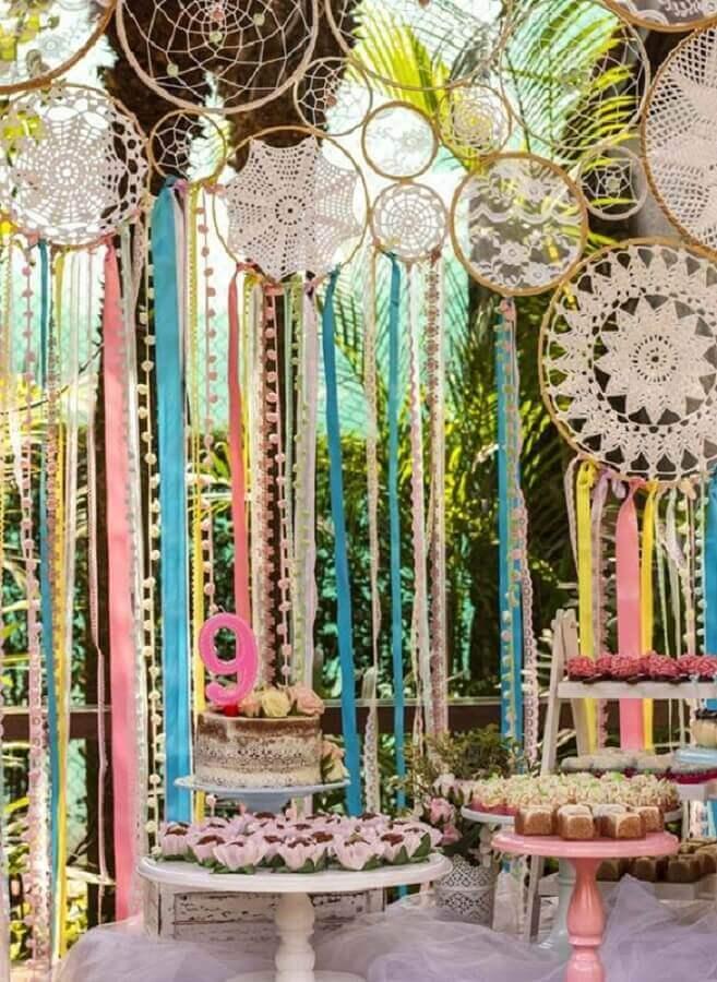 decoração para festa de aniversário com muitos filtros dos sonhos Foto Pinterest