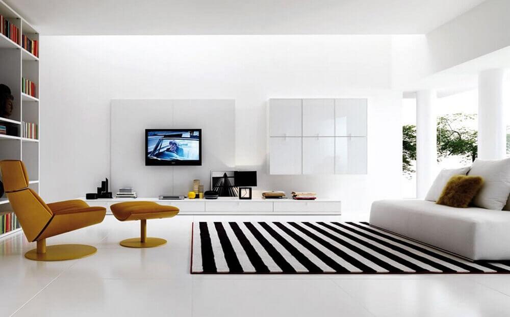 decoração para sala ampla com piso nanoglass branco e tapete listrado preto e branco Foto Seminee Fedo