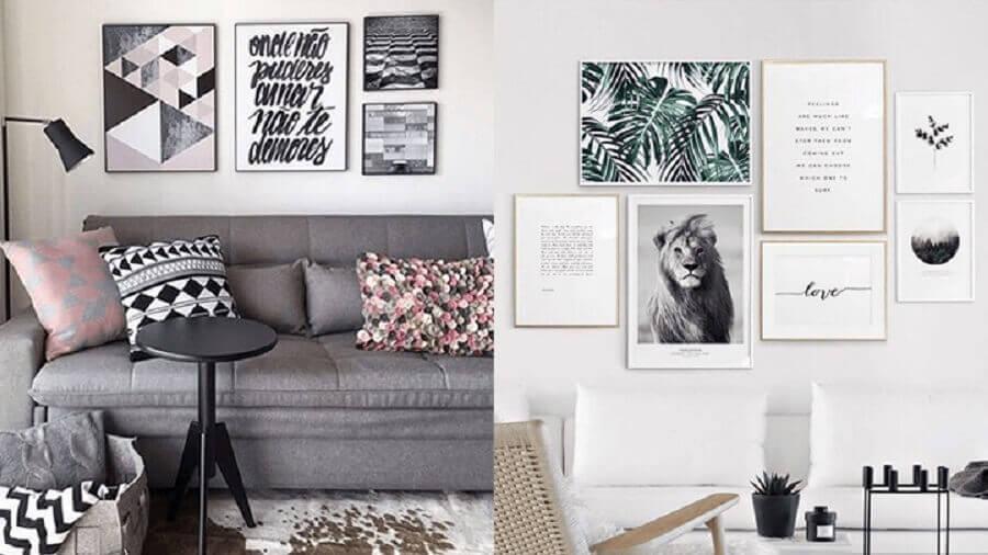 decoração para salas clean com vários quadros