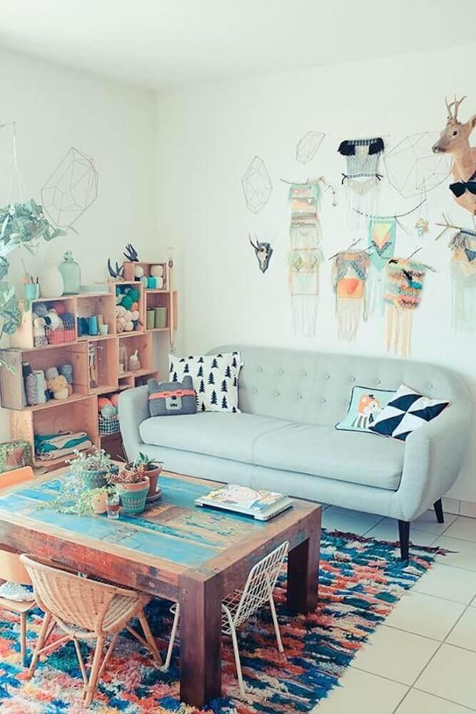 decoração simples com sofá moderno para sala pequena Foto Pinterest