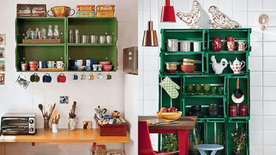 decoração simples para cozinha com caixote de madeira