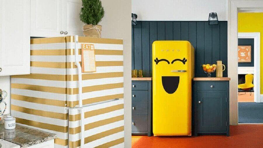 geladeira adesivada colorida