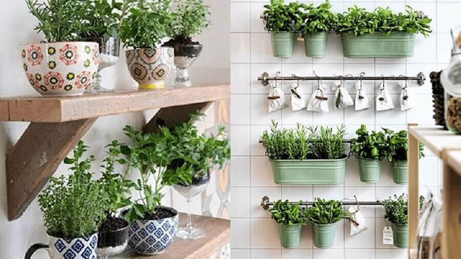 horta vertical para cozinha pequena