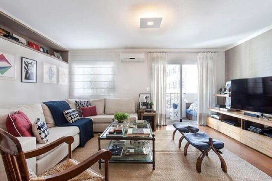 decoração para sala ampla com manta para sofá grande Pereira Reade Arquitetos