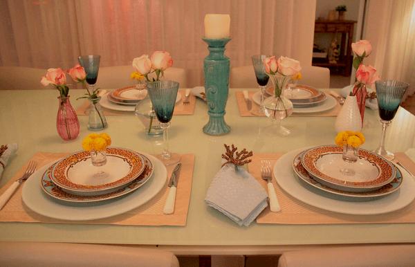 mesa posta turquesa